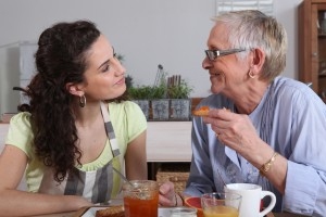 Home care aide and elderly client