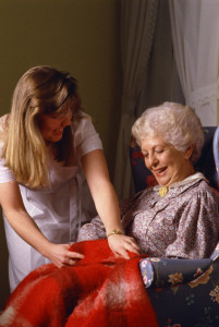 Elderly Woman and in home care aid